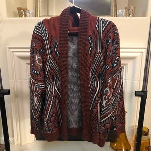 UO Hooded Patterned Cardigan